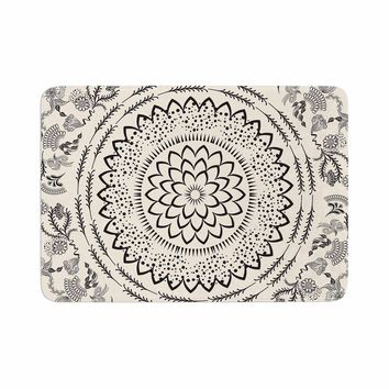 "Famenxt ""Botanical Folk Mandala"" Beige Black Illustration Memory Foam Bath Mat"
