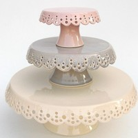 Lace cake plates set of 3 in soft colors MADE by vesselsandwares