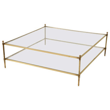 "Classic Vintage French 55"" Square Two Tier Brass & Glass Coffee Table w/Finials"