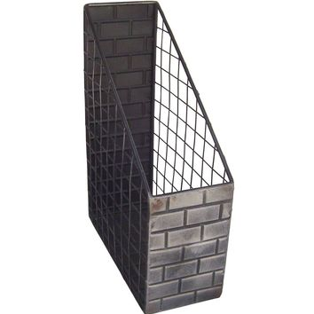 Industrial Metal Brick - Desk Magazine Organizer