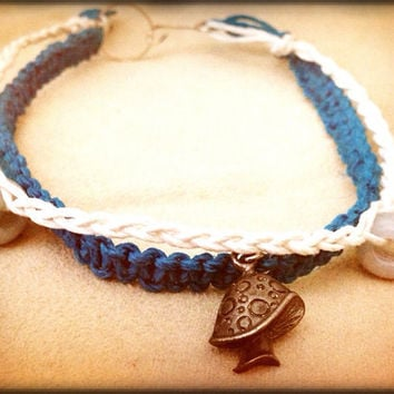Turquoise and White Hemp Cord Anklet with Mushroom Pendant and Jade Beads