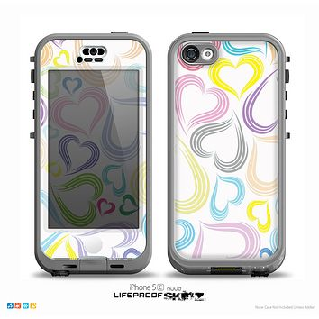 The Pastel Color Vector Heart Pattern on White Skin for the iPhone 5c nüüd LifeProof Case