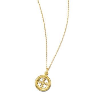 14K Gold Cross Circle Necklace