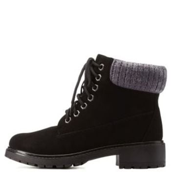 Black Bamboo Sweater-Cuffed Work Booties by Bamboo at Charlotte Russe