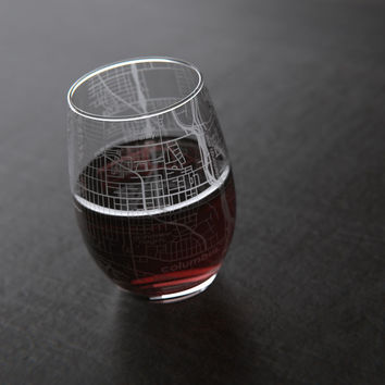 Columbus, OH - Ohio State - College Town Maps Stemless Wine Glass