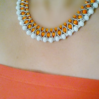 White and Orange Beaded Statement Necklace - Crystal Statement Necklace- Beaded Collar - Bib - Choker - Party - Wedding - Womens Necklace