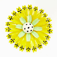 Big Mod Yellow Enamel Sun Flower Brooch