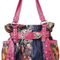 Western Cowgirl Camo Belted Rhinestone Buckle Canvas Purse (pink)