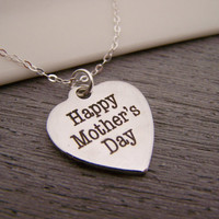 Mothers Day Heart Charm Sterling Silver Necklace / Gift for Her / Mothers Day Necklace / Gift for Mom
