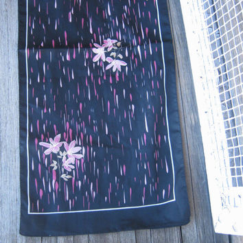 Black Vintage Scarf with Pink Flowers - Pink Flower Print Vintage Black Scarf - Black Head Scarf - Black Neck Scarf - Femme Fatale Scarf