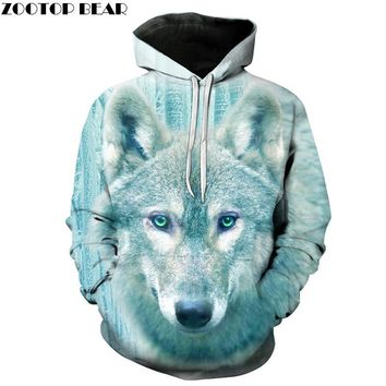 Winter Wolf Men Hoodies 3D Printed Hooded Tracksuits Autumn Printed Fashion Pullover Hooded Streetwear Male Jacket Outwear