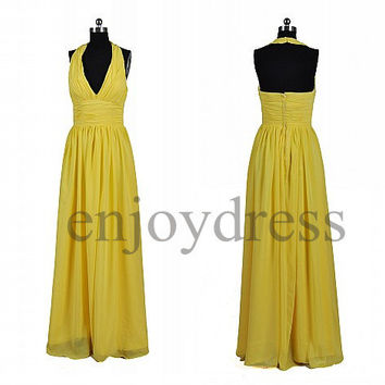 Custom Yellow Halter Long Prom Dresses Bridesmaid Dresses 2014 Wedding Party Dresses Party Dress Evening Gowns Fashion Evening Dresses