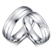 His and Hers classic wedding band set