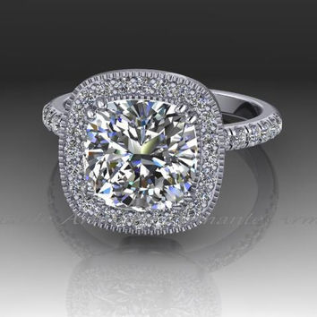 2.50 Carat Moissanite Engagement Ring, Cushion Halo Diamond Ring, 14k White Gold, Wedding Ring Re00035