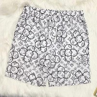 LV Louis Vuitton New Black And White Petal Print Beach Casual Quick Dry Sport Shorts White