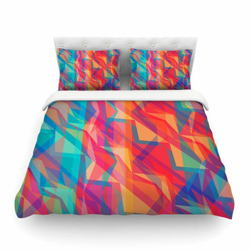 "Miranda Mol ""Triangle Opticals"" Pink Multicolor Featherweight Duvet Cover"
