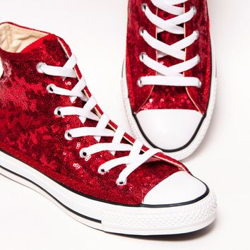 Select Your Color of Starlight Sequin Name Brand Canvas High Top Sneakers