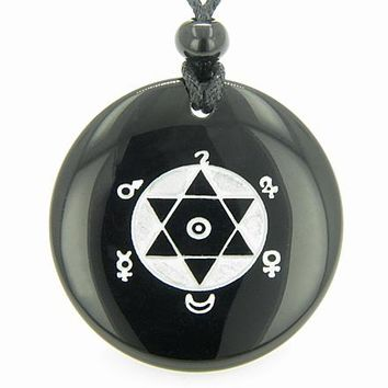 King Solomon Seal of Success Amulet Black Onyx Gemstone Circle Spiritual Powers Pendant Necklace