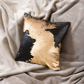 Gold Black Mermaid sequin pillow