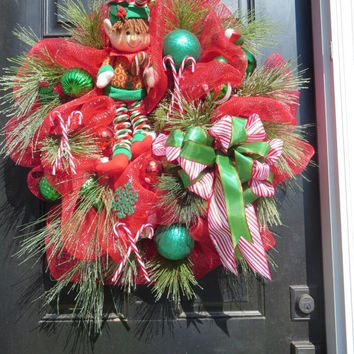 SALE Christmas Deco Mesh Wreaths,  Elf Christmas Wreath, Christmas Door Wreath, Christmas Front Door Wreaths, Double Door Christmas Wreaths