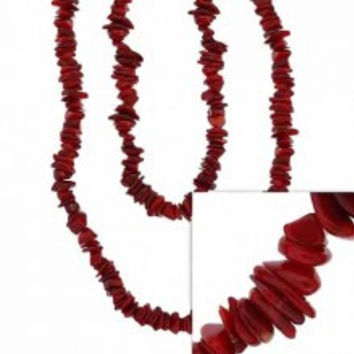 Red Genuine Sea Bamboo Coral Chip One Strand Layer Necklace 36