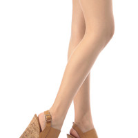 Tan Faux Leather Sling Back Cork Wedges