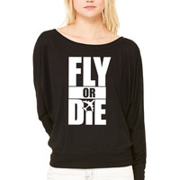 Fly Or Die die WOMEN'S FLOWY LONG SLEEVE OFF SHOULDER TEE