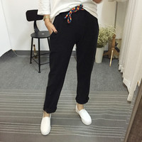 Elastic Waist Colored Drawstring Sporty Pants