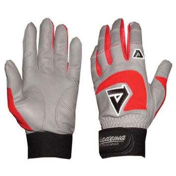 Adult Gray Batting Gloves (Red)