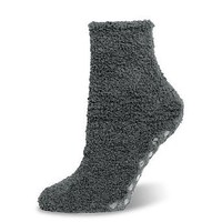 Marshmallow Soft Unisex Charcoal Grey Microfiber Fuzzy Spa Slipper Socks Non-skid