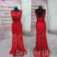 2015 New arrival red lace open back mermaid long prom dress,back-v see through sheath sexy evening prom dresses,formal women prom gowns