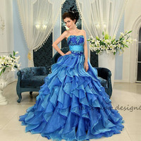 Strapless Sapphire Blue Organza Ruffled Ball Gown Prom Dress H-111