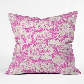 Rachelle Roberts Farm Land Toile In Pink Outdoor Throw Pillow