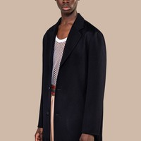 Adrian Fringed Cashmere Wool Coat Navy   CMMN SWDN
