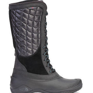 The North Face Womens Thermoball Utility Snow Boots Waterproof Black Green