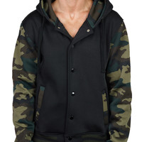 LE3NO Mens Varsity Camo Fleece Jacket with Hoodie (CLEARANCE)