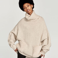 ROLL NECK SWEATER WITH TEXTURED POCKETS - View all-KNITWEAR-WOMAN | ZARA United States