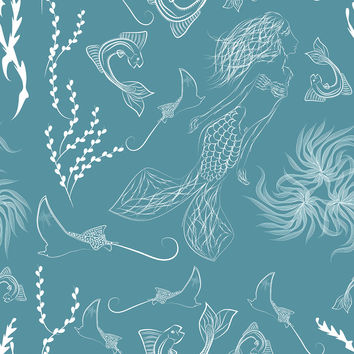 Ocean Mermaid Removable Wallpaper