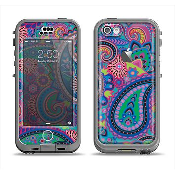 The Bold Colorful Paisley Pattern Apple iPhone 5c LifeProof Nuud Case Skin Set