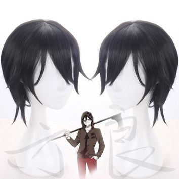 Angels of Death Isaac Foster Zack Cosplay Mens Short Straight Black Cosplay Wig + Wig Cap