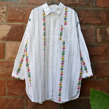 Country style Colored flowers vertical stripesTurn-down collar long sleeve shirt blouse girl