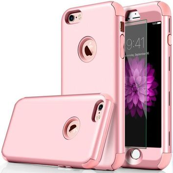 LMFMS6 iphone 6 Case, DUDETOP 3-in-1 Shockproof Scratch-Resistant Resist Cracking Armor Protective Cover Easy Grip Design with Tempered Glass Screen Protector for Apple iphone 6s 4.7' Inch ( Rose Gold )
