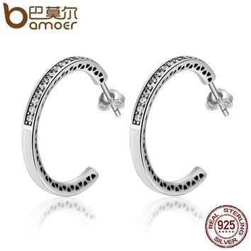 925 Sterling Silver Radiant Hearts White Enamel & Clear CZ Hoop Earrings for Women Sterling Silver Jewelry Bijoux SCE211