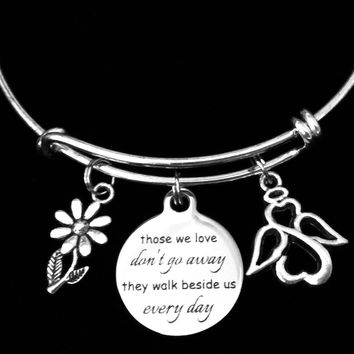 Memorial Loved One Adjustable Bracelet Expandable Charm Bangle Angel Family Loss Bereavement Gift Remembrance
