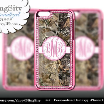 Monogram Pink iPhone 5 5C Case Camo Bling Rhinestone Metallic Look real tree Case Cover Country Southern Girl