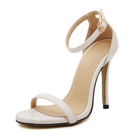 White Ankle Strap High Heels