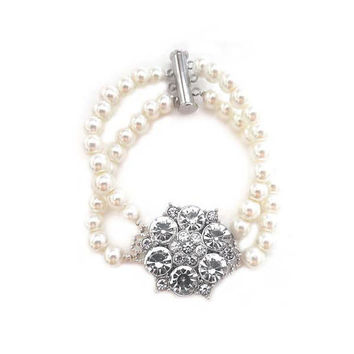 Art Deco Style Pearl Rhinestone Wedding Bracelet, Bridal Jewelry Sterling Silver