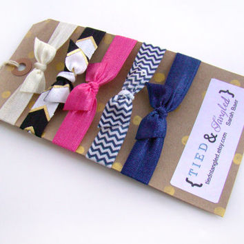 Chevron Elastic Hair Ties, FOE, Preppy Hair Ties, Preppy Girl Gift, Easter Basket Gift, Small Girl Gift, Spring Hair Ties