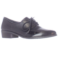 Tahari Latrice Lace Up Oxford Flats - Black/Black