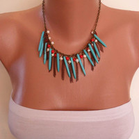 Turquoise Coral and Pearl Necklace with Chain by SwedishShop